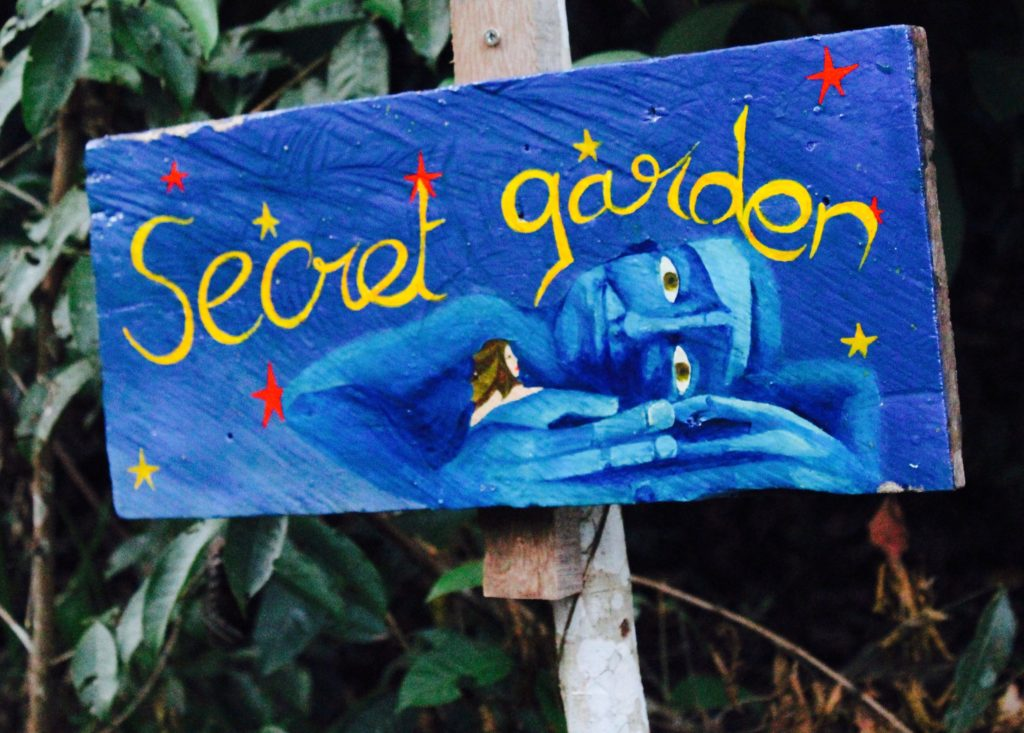 The sign to Mathilda's Secret Garden