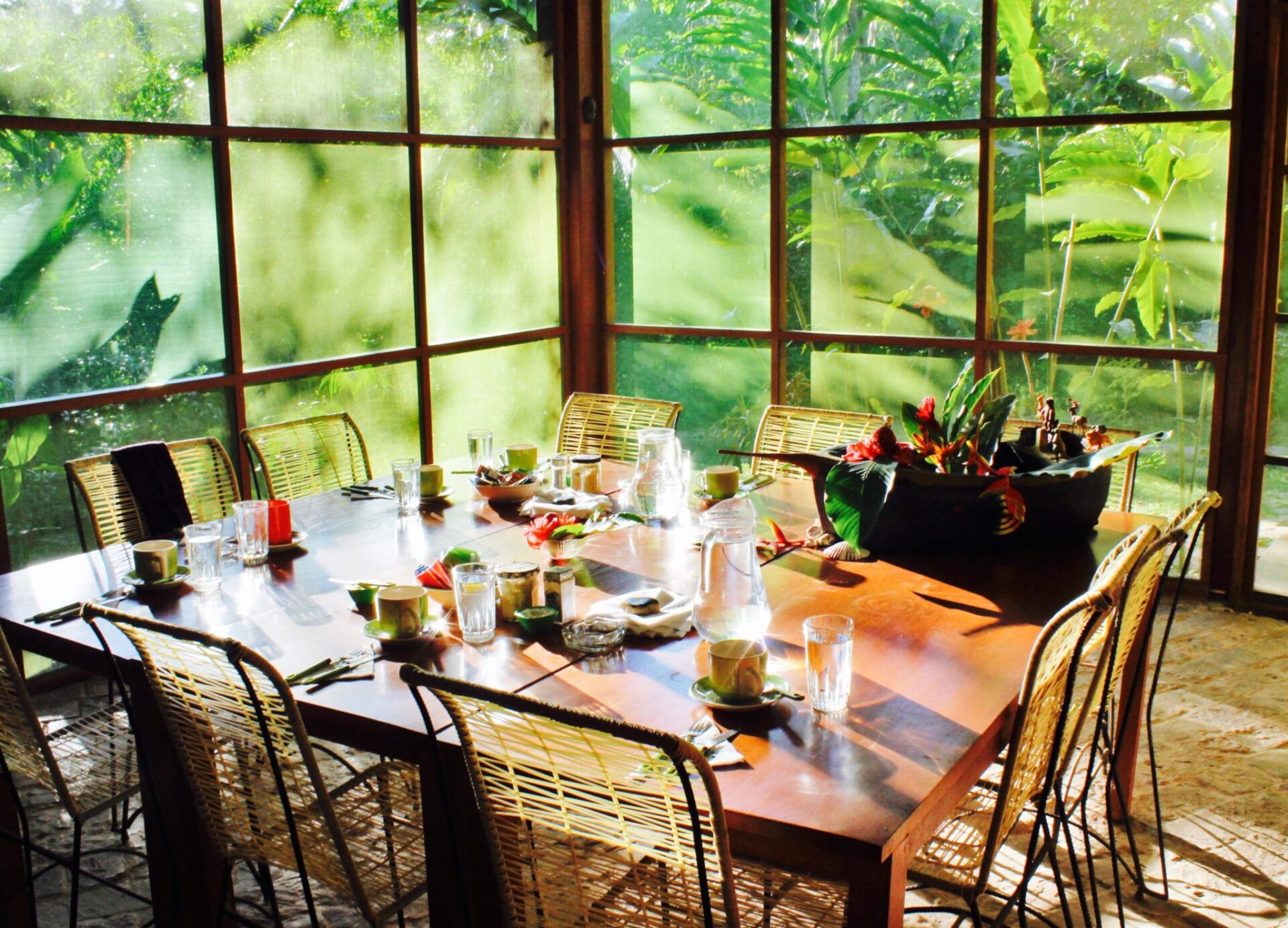 Breakfast set up for Ayahuasca workshop